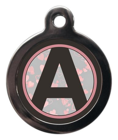 Pet ID tag Initial A-Z Pink - Hearts Background